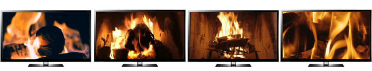 turn TV into fireplace video